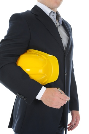 Businessman with construction helmet photo