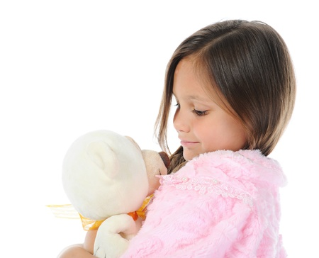 girl embracing her teddy bear toy Stock Photo - 9952428