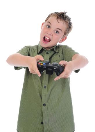 funny boy with a joystick Stock Photo - 9952350
