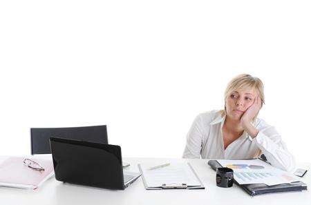 pesantezza: Piangere ragazza in ufficio.