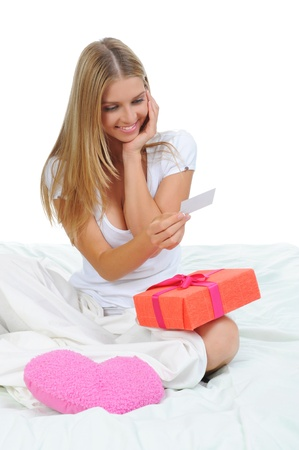 young woman with a gift box Stock Photo - 9952347