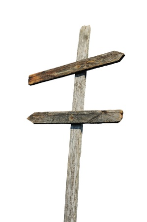 Old wooden blank sign post photo
