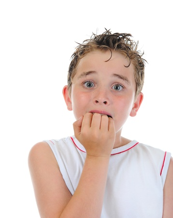 frighten: Portrait of a frightened boy Stock Photo