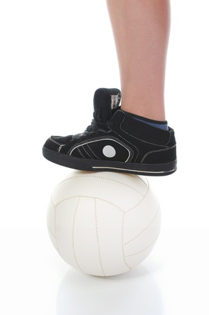 leg of the soccer player with ball photo