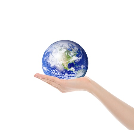 Planet Earth in the female hand photo