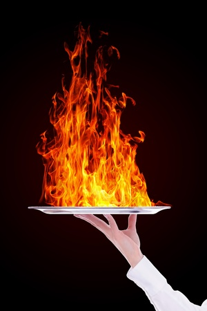 wild fire: Waiter holding empty silver tray