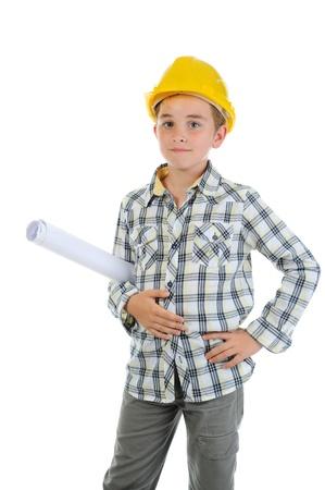 Little smiling builder in helmet Stock Photo - 10544780