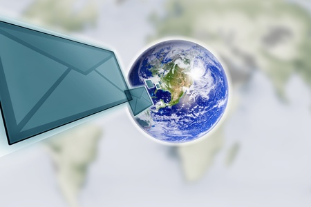 planet earth and mail the envelope Stock Photo - 10567010