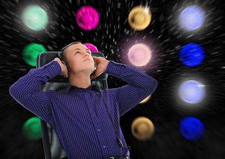 Man with headphones listening to music Stock Photo - 10577626