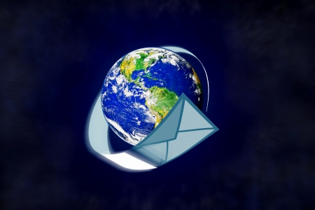 planet earth and mail the envelope Stock Photo - 10577611