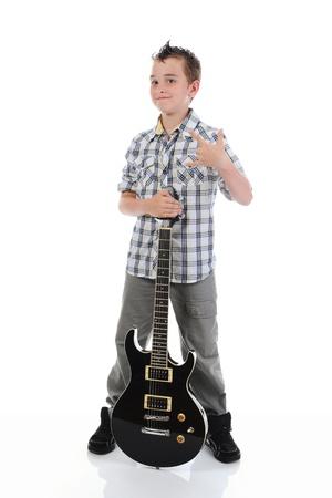 Little musician playing guitar photo