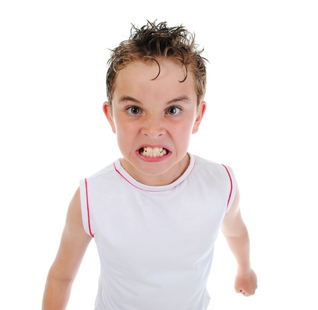 angry person: Angry little boy