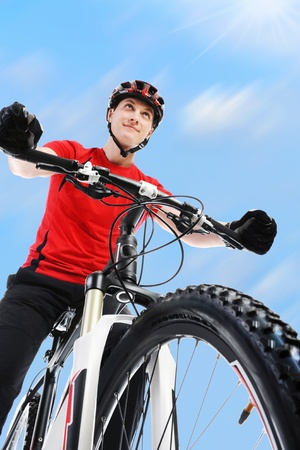 mountain bicycling: portrait of a cyclist.