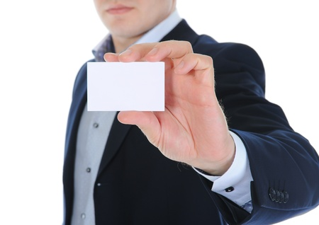 man handing a blank Stock Photo - 10657056