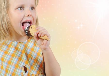 blonde irl eating ice cream. Stock Photo - 10657050