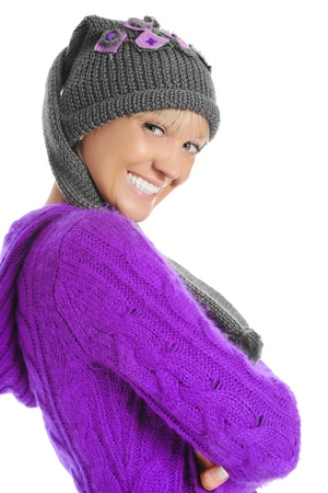 red cardigan: young woman in winter style Stock Photo