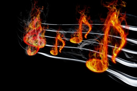 flames background: burning music