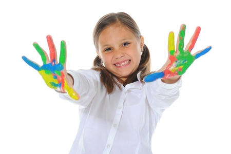 smiling girl with the palms painted by a paint. Stock Photo - 11107835