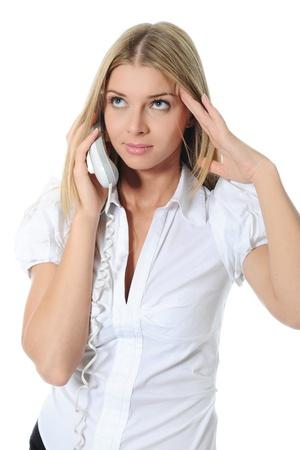 sch�ne Frau mit einem Handy in der Hand. Lizenzfreie Bilder - 11107853
