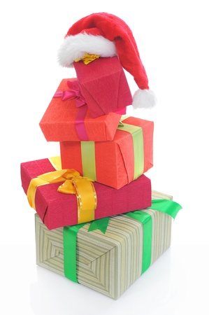 Santa Claus hat with Christmas presents photo