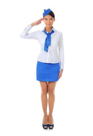 flight attendant: Attractive stewardess