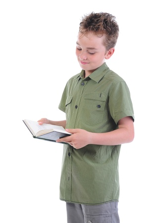 Little boy  holding her book photo