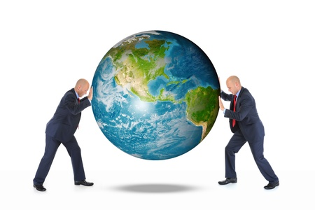 Two businessmen are holding the planet earth photo