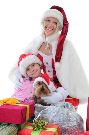 Cheerful boy in Santa Claus hat photo