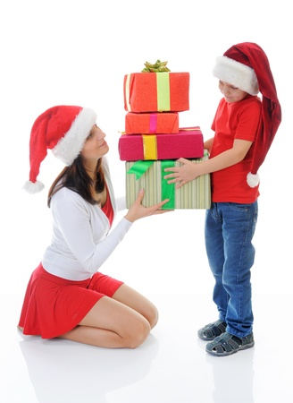 Cheerful boy in Santa Claus hat Stock Photo - 11342588