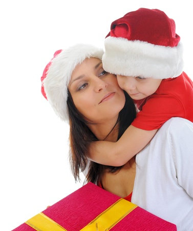 Cheerful boy in Santa Claus hat photo