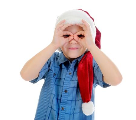 Cheerful boy in Santa Claus hat Stock Photo - 11342718