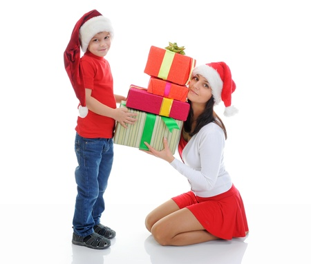 Cheerful boy in Santa Claus hat Stock Photo - 11342671