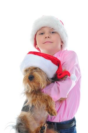 Cheerful boy in Santa Claus hat Stock Photo - 11342711