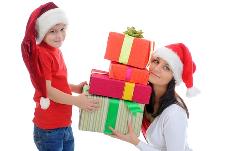 Cheerful boy in Santa Claus hat Stock Photo - 11342885