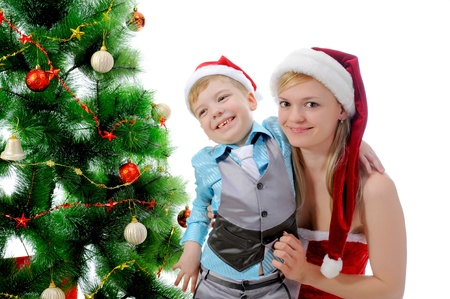 Cheerful boy in Santa Claus hat Stock Photo - 11343133