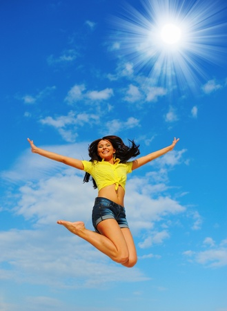 Beautiful Woman over blue Sky Stock Photo - 11343006