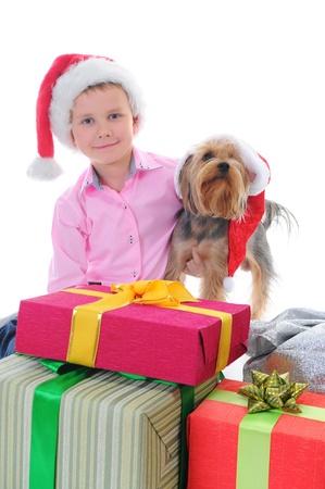 Cheerful boy in Santa Claus hat Stock Photo - 11343203
