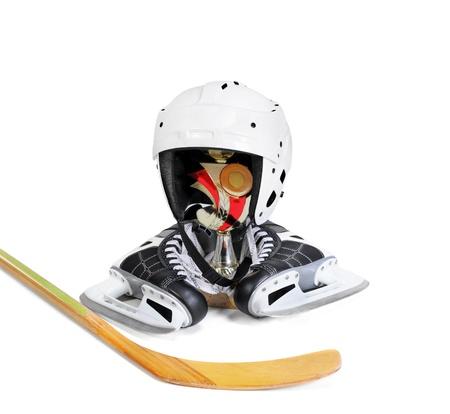 Hockey Stick helmet trophy winner photo