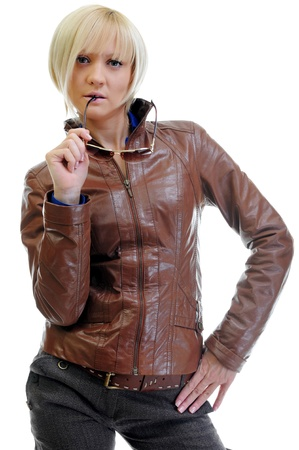 leather jacket: young woman in a leather jacket Stock Photo