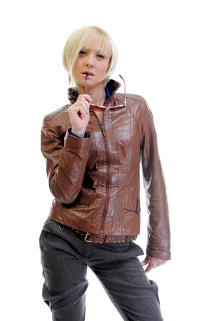 young woman in a leather jacket photo