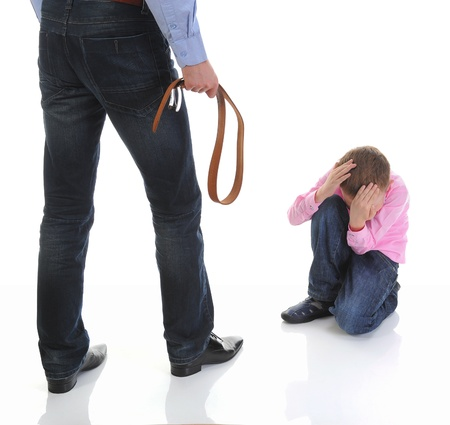 Strict father punishes his son Stock Photo - 11343342