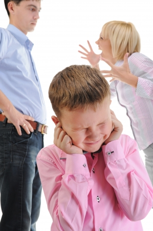 girl fighting: Parents share child. Stock Photo