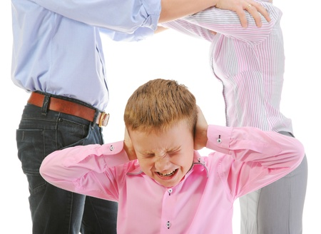woman screaming: Parents share child. Stock Photo