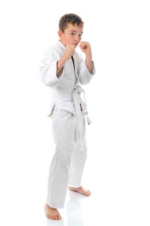Young boy training karate. Stock Photo