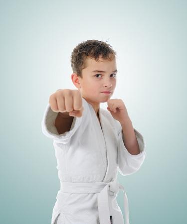 jujitsu: Young boy training karate. Stock Photo