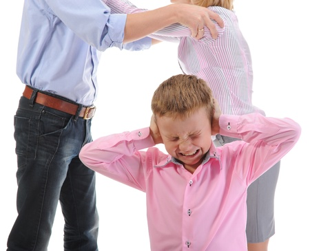 family fight: Parents share child. Stock Photo