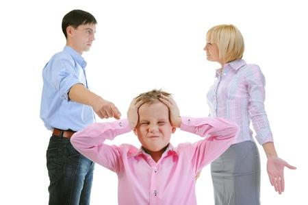 Parents share child. Stock Photo