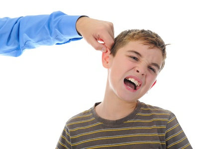 punish: Strict father punishes his son Stock Photo