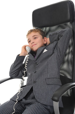 boy talking on the phone. photo