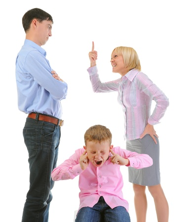 beating: Parents share child. Stock Photo